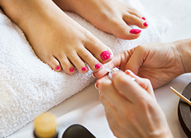 Basic and deluxe foot spa pedicures available at Salon Bumbi in Elkins, WV